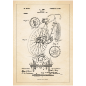 Patentposter A4 - J.J. Hentz Bicycle