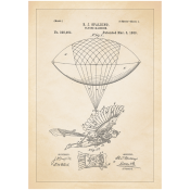 Patentposter A4 - B.J. Spalding Flying machine