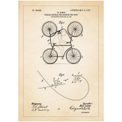 Patentposter A4 - K. Lange Double Bicycle